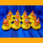 12 Orange Swirl Party Rubber Ducks with Noise Makers