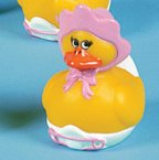 Retired Baby Girl with Bonnet Rubber Duck