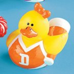 Retired Cheerleader Rubber Duck with Megaphone - Orange & White