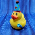 Birthday Party Rubber Duck in Blue Hat with Noise Maker