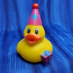 Birthday Party Rubber Duck in Pink Hat with Gift