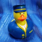 Blue Train Conductor Rubber Duck