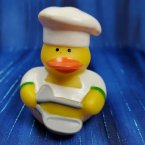 Chef Rubber Duck with Frying Pan in Green