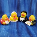 Wedding Bride and Groom with Ring Bearer and Flower Girl Ducks