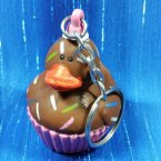 Chocolate Cupcake Rubber Duck Key Chain