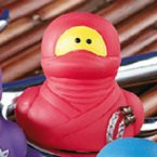 Ninja Rubber Duck with Nunchucks in Red