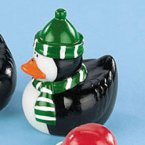 Penguin Rubber Duck with Green Hat and Scarf