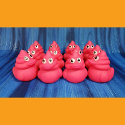 12 Pink Strawberry Poop Emoji Swirl Rubber Ducks