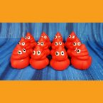 12 Cherry Red Poop Emoji Swirl Rubber Ducks