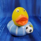 Soccer Futbol Rubber Duck - White and Light Blue