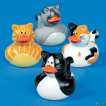 Cat Rubber Ducks with Orange Beaks