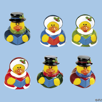 Retired Christmas Caroler Rubber Ducks - Click Image to Close