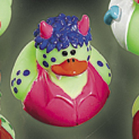 Glow in the Dark Blue Haired Monster Rubber Duck